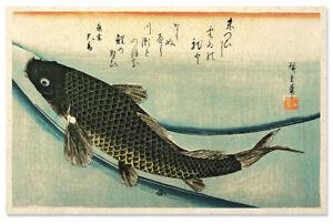 Asian japanese art print swimming koi by hiroshige ebay for Chinese koi fish for sale