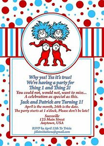dr seuss birthday invitation invitations thing 1 and thing 2