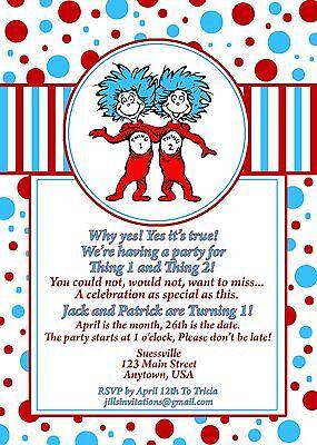 Dr Seuss Birthday Invitation