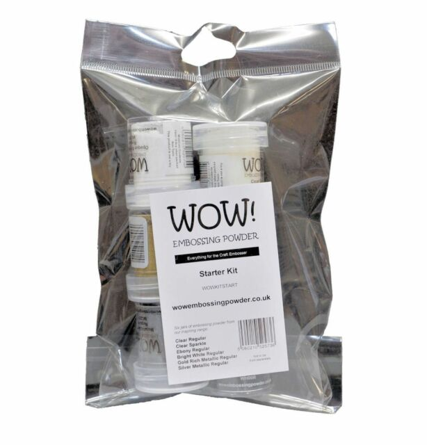 Wow Embossing Powder Starter Kit Set 6 x 15ml Pots Assorted Colours Clear White