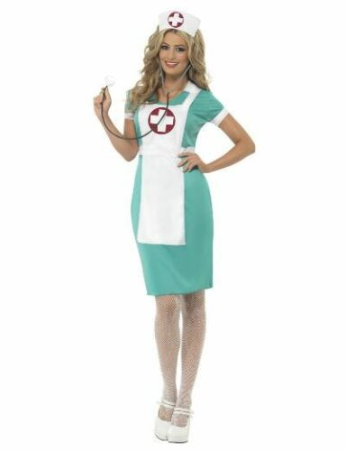 Medic Hospital Doctor Ladies Fancy Dress Halloween Costume NEW Scrub Nurse
