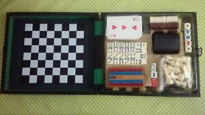 Set De Juegos De Mesa Con Estuche Cartas Poker Domino Damas Dados Ebay