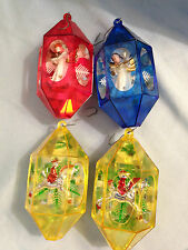 Vintage Jewelbrite Christmas Ornaments 4 Plastic Mirrored Diorama