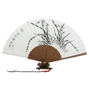 Folding-White-Paper-Chinese-Ink-Black-Orchid-Painting-Bamboo-Hand-Held-Art-Fan
