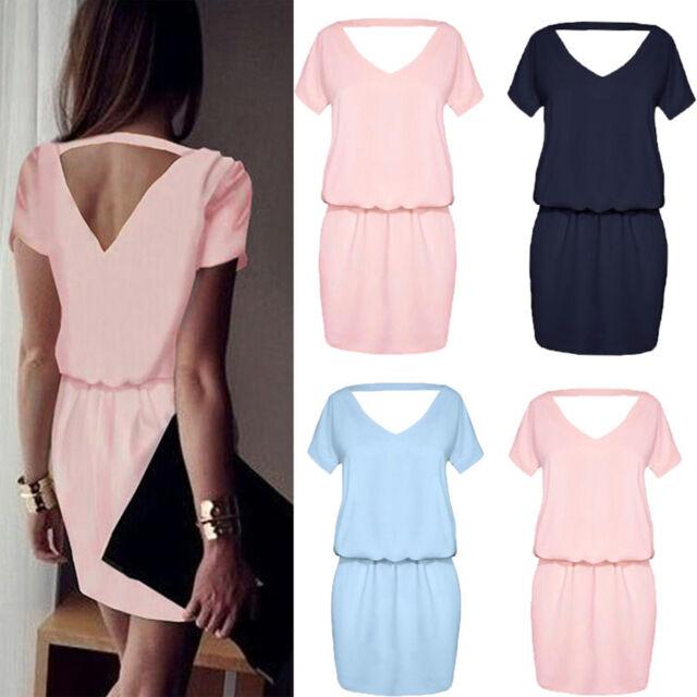 Damen Rückenfrei Minikleid Sommerkleider Partykleid Abendkleid Cocktail Kleider
