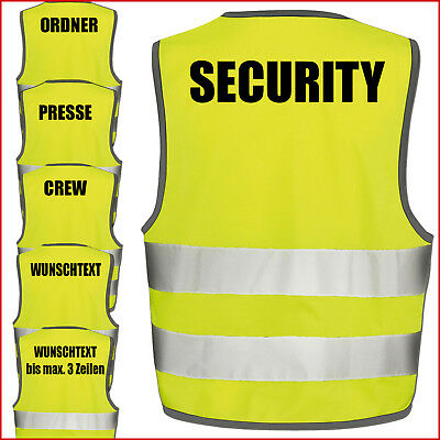Text nach Wunsch 3 Zeilig 1 Weste Warnweste GELB Sicherheitsweste Weste Ordner Security Crew