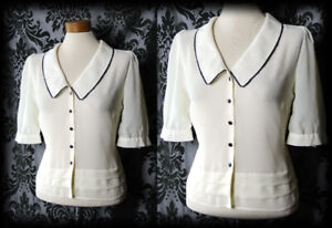 Goth-Cream-Sheer-Navy-Trim-LIBERTINE-Wide-Collar-Blouse-6-8-Vintage-Pin-Up-Retro