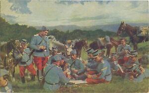 The-War-A-Joyous-Party-Soldiers-Uniform-WW1-Postcard-333