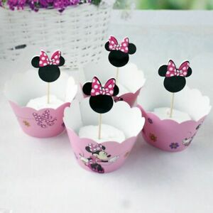 Cupcake-Wrappers-And-Toppers-For-Kids-Birthday-Party-Pink-Decoration-Minnie