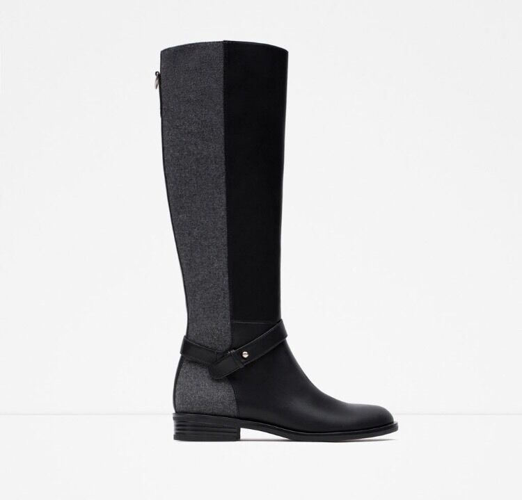 il più recente ZARA Leather Wool nero grigio Tall Riding stivali stivali stivali US Donna  Dimensione 6 NWB  sconto di vendita