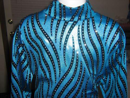 Girls turquoise slinky western rail shirt leadline horsemanship rodeo xs S M L