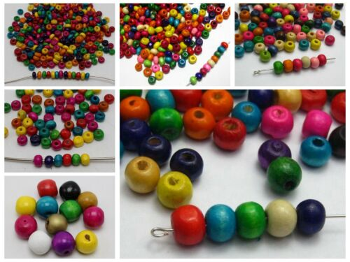 Craft DIY Mixed Color Wood Round Beads Wooden Spacer Various Size Jewelry Making