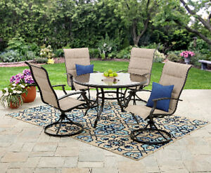 Excellent Details About 5Pc Outdoor Dining Set Round Glass Table Swivel Fabric Chairs Patio Furniture Gmtry Best Dining Table And Chair Ideas Images Gmtryco