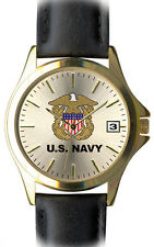 U.S. Navy Brass and Leather Frontier Mens Watch - 30m Water Resistant