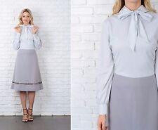 Vintage 70s Gray Color Block Dress Mod Embroidered Geo Geometric Medium M