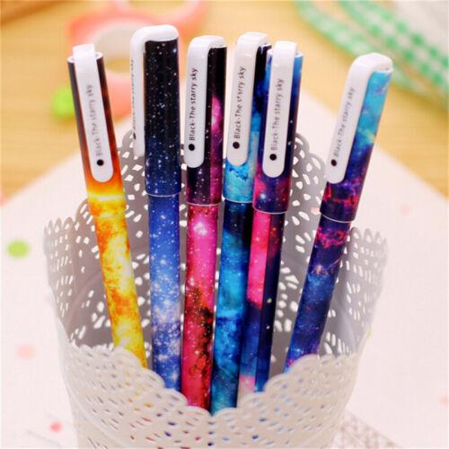 Beautiful Starry Sky Pattern Gel Pen for School Office Writing Stationery 6x JKC