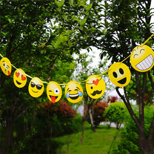 Image Is Loading Emoji Birthday Bunting Garland Banner Kit Teen Decoration