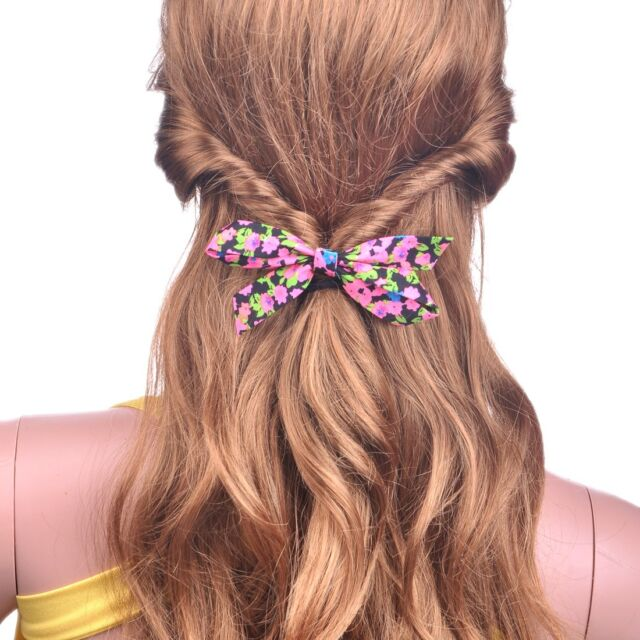 Colorful Rose Floral Flower Bow Bowknot Scrunchie Ponytail Holder For Girls