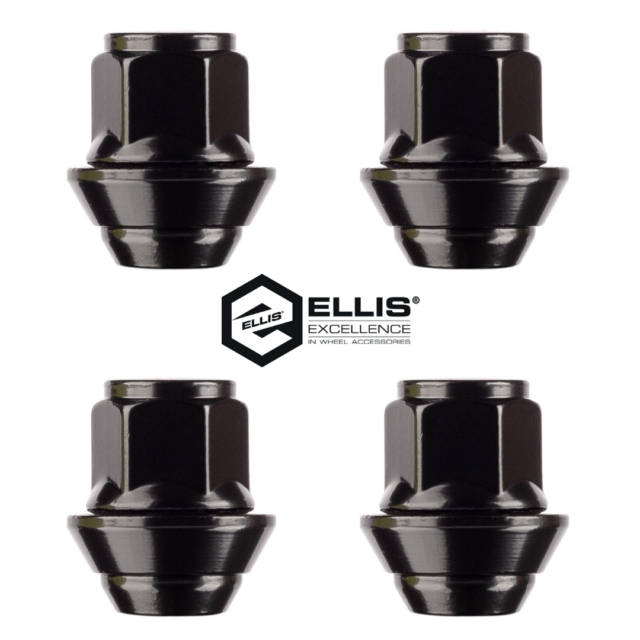 4 Replacement Alloy Wheel Nuts, M12 x 1.5, 19mm Hex, OE Style (Black)