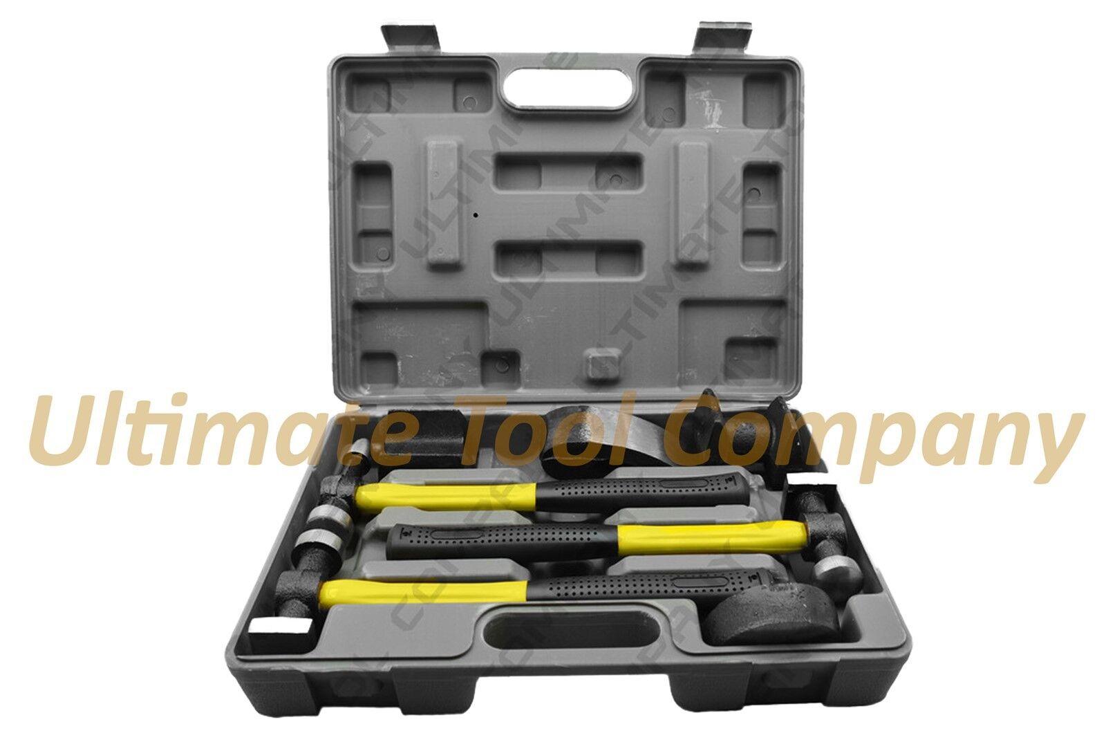 7pc Fiberglass Fender Repair Tool Hammer Dolly Dent Auto Body   Heavy Duty Set