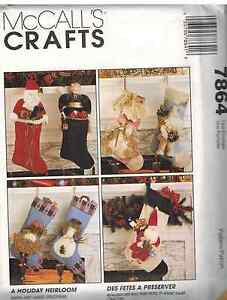 7864-UNCUT-McCalls-Vintage-SEWING-Pattern-Christmas-Santa-Angel-Stockings-Decor