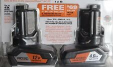 2 New Ridgid 12v 4.0Ah Lithium-Ion Batteries And Charger All Sealed New