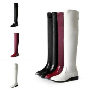 1333770f292 Womens Over The Knee Boots Low Heel Ladies Casual Biker Riding Thigh ...