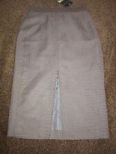 BNWT UK 8 £60 Topshop Midi Skirt Grey Snake Skin Textured Leather Look Dress Up