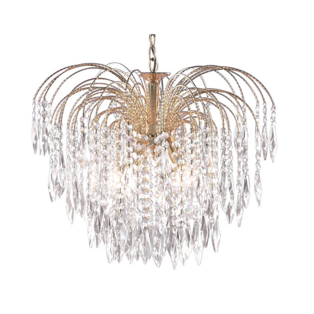 Searchlight waterfall gold 5 light chandelier ceiling lights ebay searchlight 5 lights waterfall gold plate ceiling fitting pendant chandelier new aloadofball Gallery