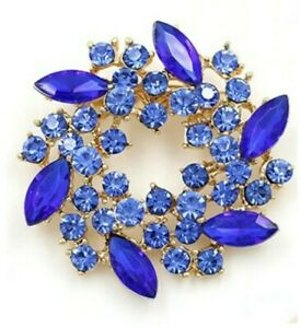 BROOCH-Circular-Blue-Rhinestone-Crystal-Pin-on-Brooch-Mothers-Day-Gift-for-Mum