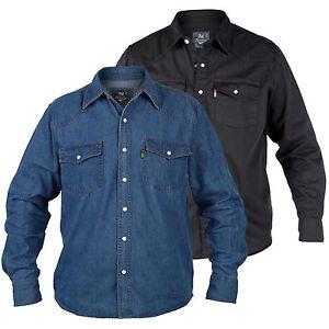 Duke-Calidad-Nuevo-Para-hombre-Azul-Denim-Camisa-Mangas-Largas-Informal-Classic-Western-Negro