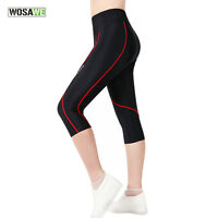 2017 Girls Women's Cycling Bicycle 3D Padded Bike Capris Tights 3/4 Pants Black