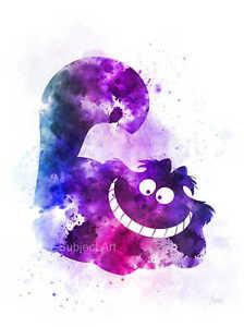 Cheshire Cat illustration Disney ART PRINT Alice in Wonderland Wall Art Gift