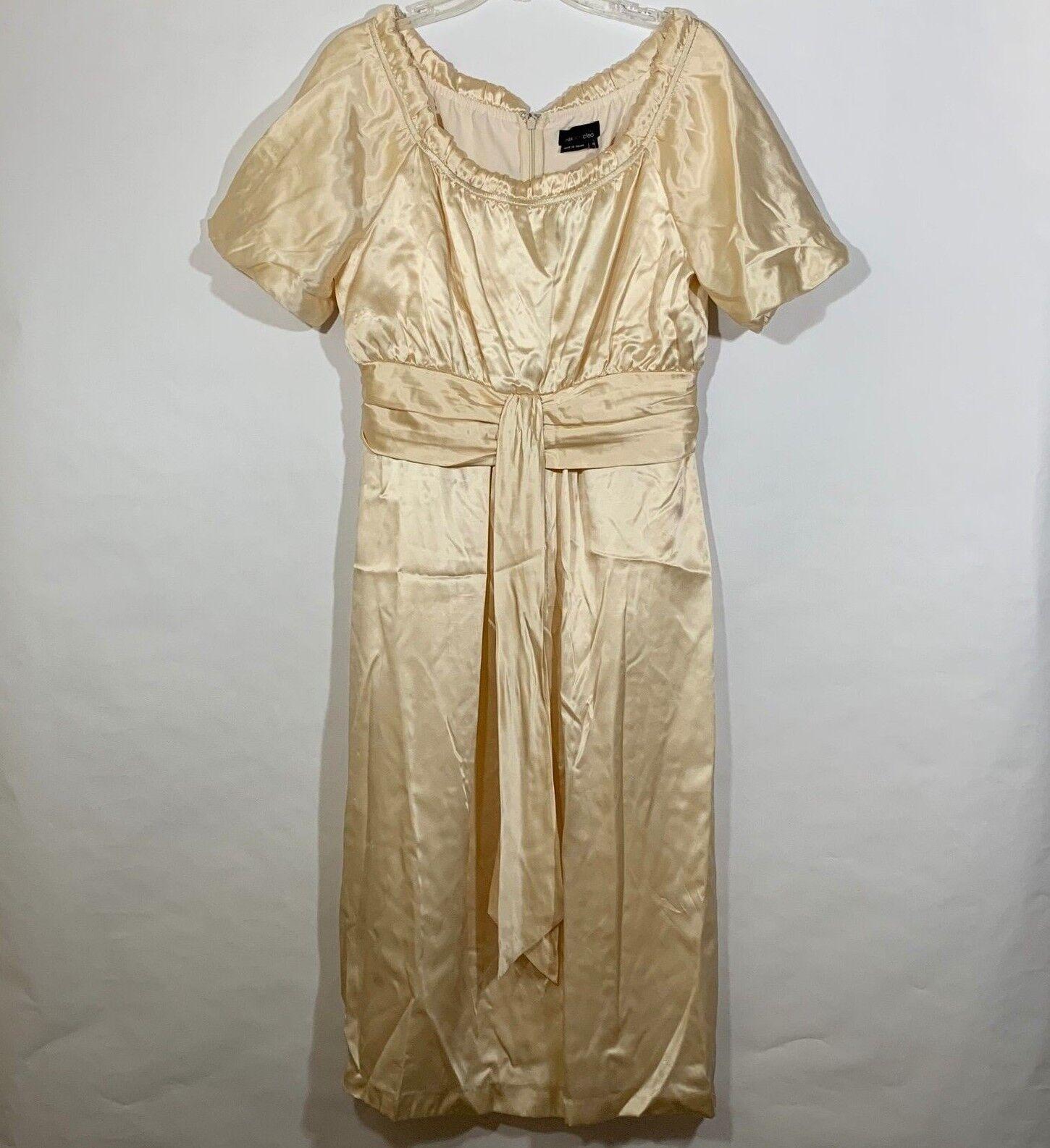 NEW Max Cleo Empire Waist SILK Formal Formal Formal Modest Dress  188 Bubble Sleeve Midi Sz 12 09d5aa