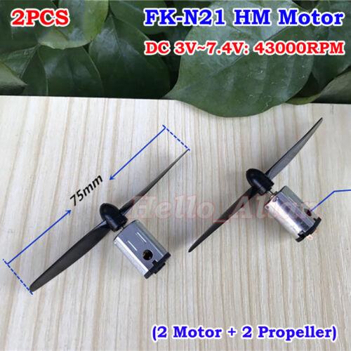2PCS DC 3V 3.7V 5V 6V 7.4V 43000RPM High Speed FK-N21 Mini DC Motor+Propellers