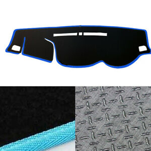 Non-Slip-Dash-Mat-Cover-Black-w-Sky-Blue-Edge-for-2015-2019-Mitsubishi-Triton