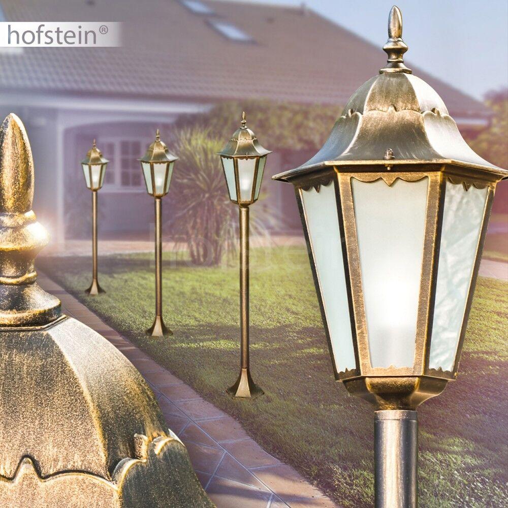 Clásica exterior pie luces marrón-oro con cristal esmerilado caminos iluminación de jardín