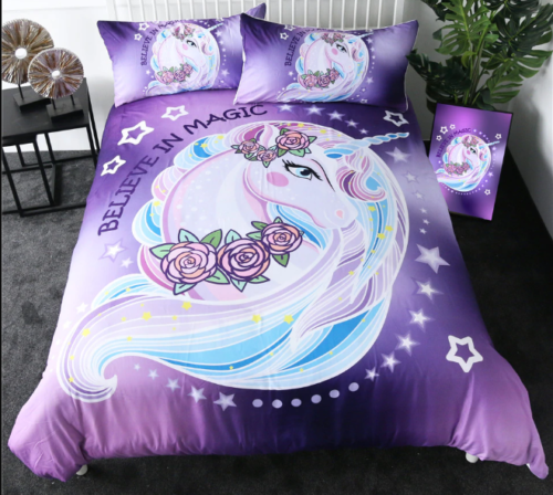 Unicorn Ensemble De Literie Floral Rose 3PCS couvertures textiles Taie d'oreiller Housse de couette