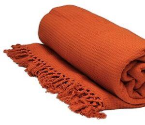 Settee Bed Throw Terracotta Orange Skillful Manufacture Dutiful Large 178cm X 254cm Honeycomb Waffle Sofa