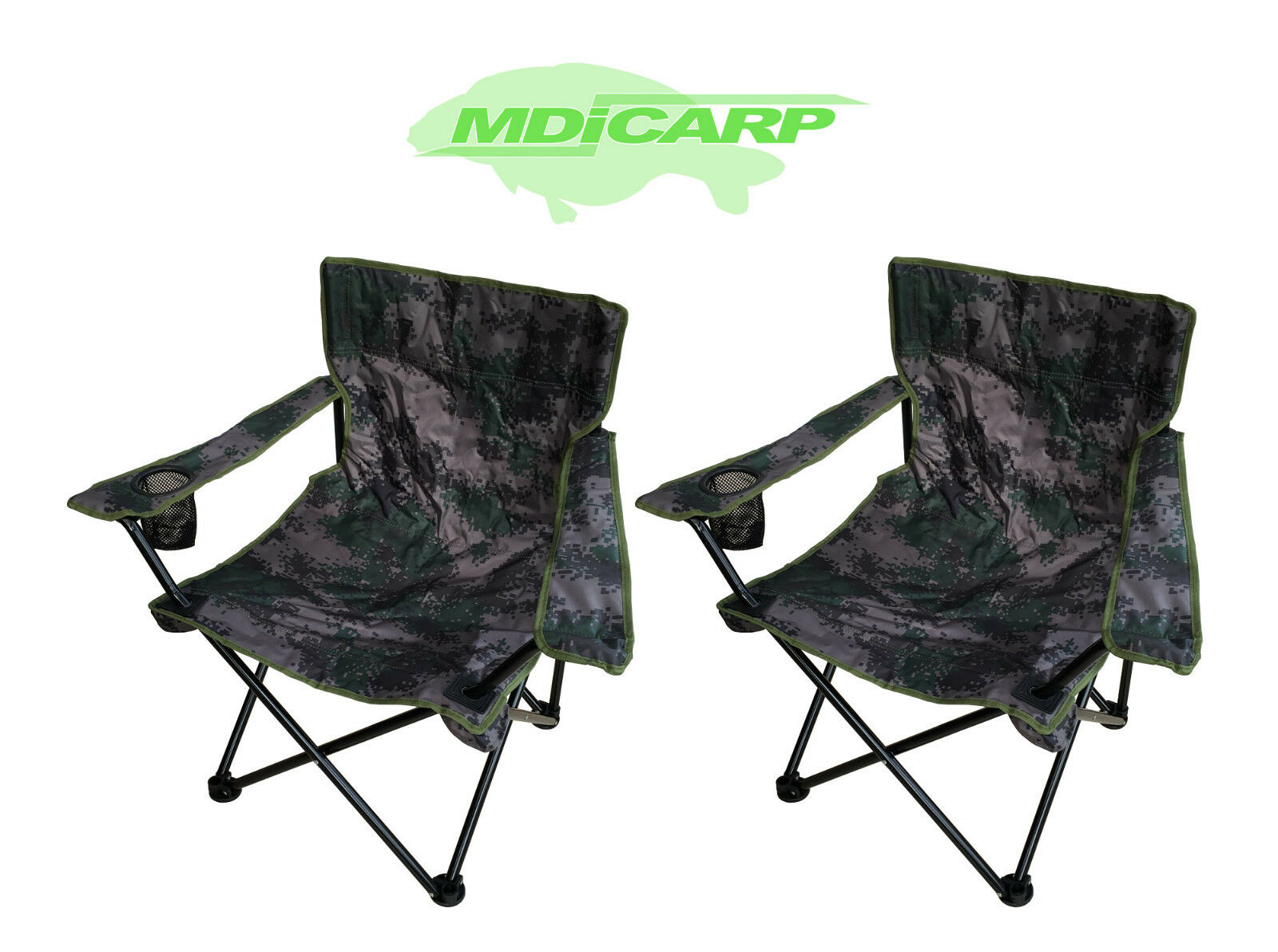 2 MDI Carp Folding Camping Camouflage Chairs for Camping, Walking & Fishing