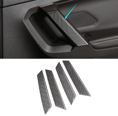 Carbon Fiber Car Door Armrest Handrail Cover Trim For VW Tiguan 2nd Gen 2017-18