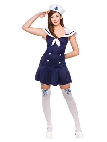 Adult Ahoy Sailor with Hat Ladies Fancy Dress Costume Hen Party UK Sizes 6-24