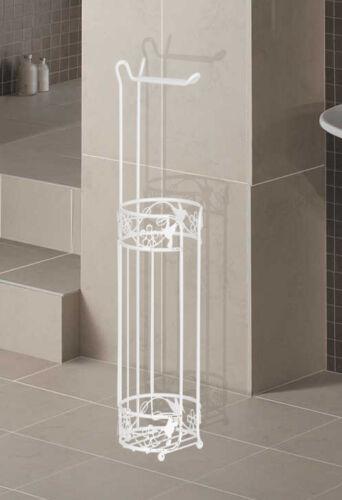 White Powder Coated Metal Storer Elegant Design Paradise Toilet Roll Holder