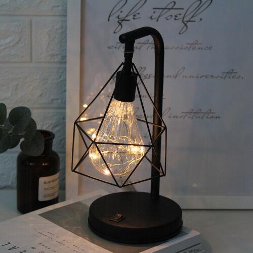 Modern Wrought Iron LED Desk Lamp Simple Bedside Night Light Bedroom Home Decor
