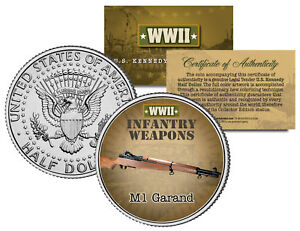 M1-GARAND-WWII-Infantry-Weapons-JFK-Kennedy-Half-Dollar-U-S-Coin