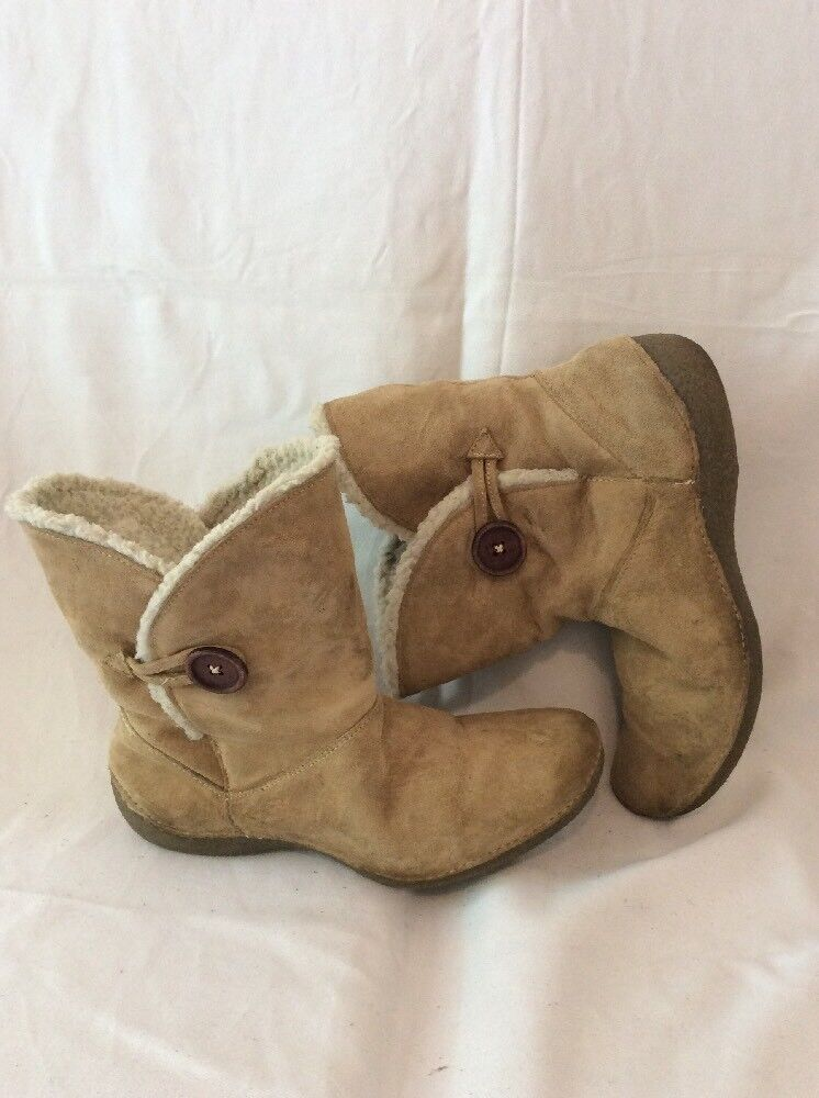 Hush Puppies Brown Mid Calf Suede Boots Size 7