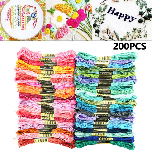 25 Set of Viscose Solid Hand Embroidery Thread Skeins Oasis Assorted Colours