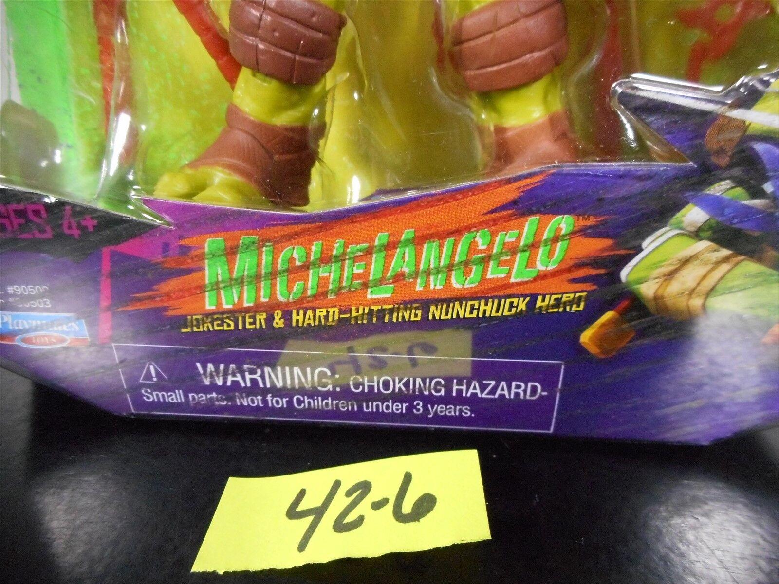 Raro Teenage Mutant Ninja Turtles Nickelodeon Tortugas Ninja error Miguel Ángel líneas en embalaje 42-6