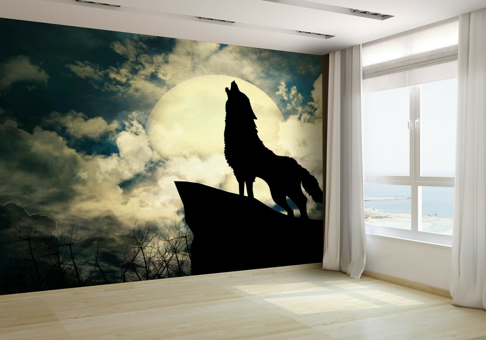 Wolf in Silhouette Howling Wallpaper Mural Photo 19345038 budget paper
