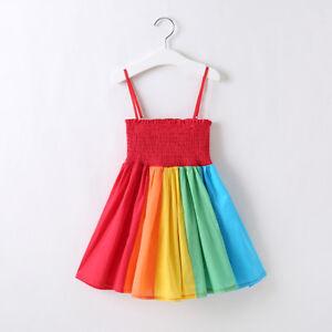 Toddler-Princess-Baby-Kids-Girl-Dress-Party-Rainbow-Summer-Sling-Dress-Cute